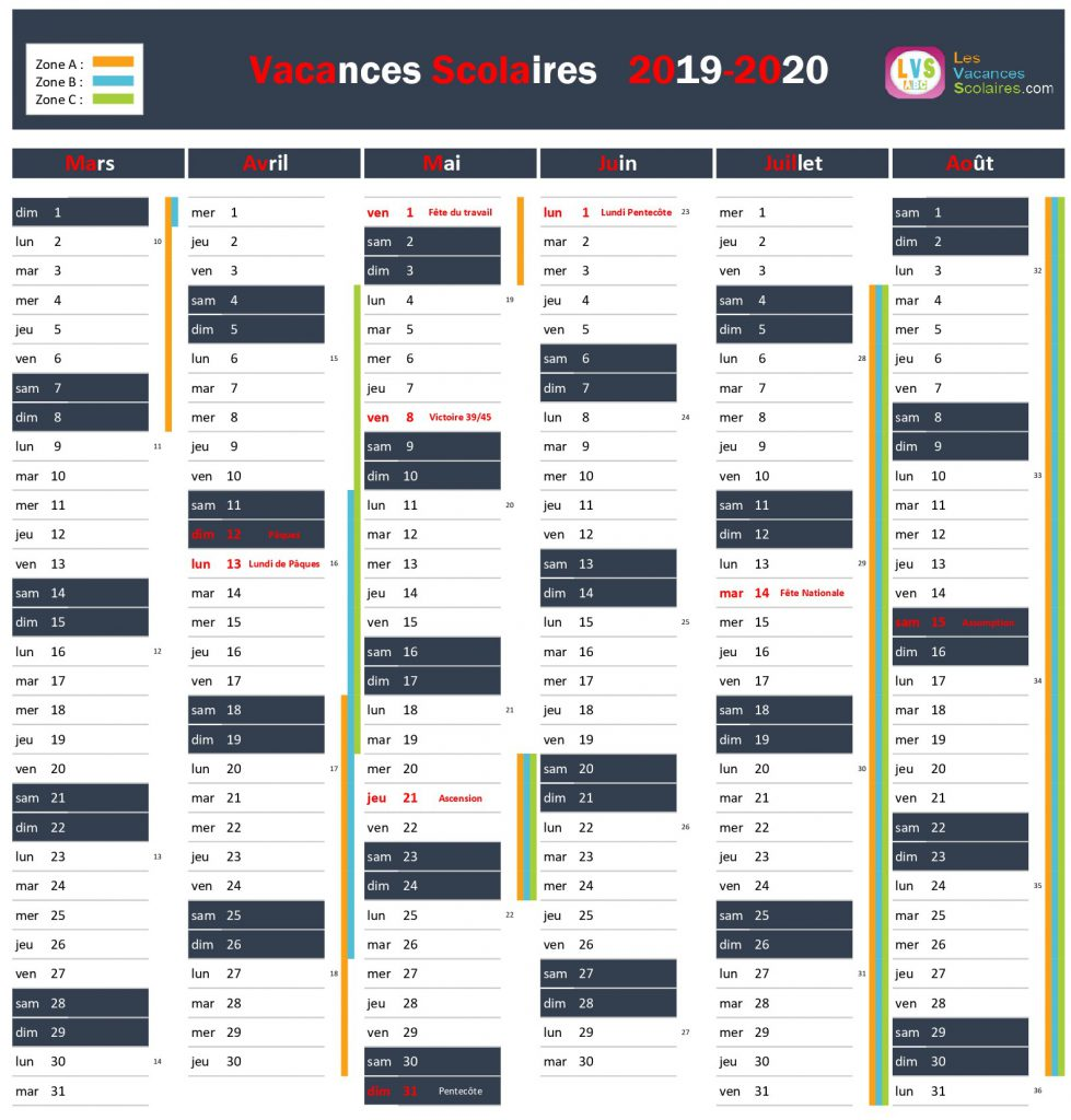 Calendrier Scolaire 2020 2021 Pdf.Calendrier A Imprimer Les Vacances Scolaires Zone A Zone B