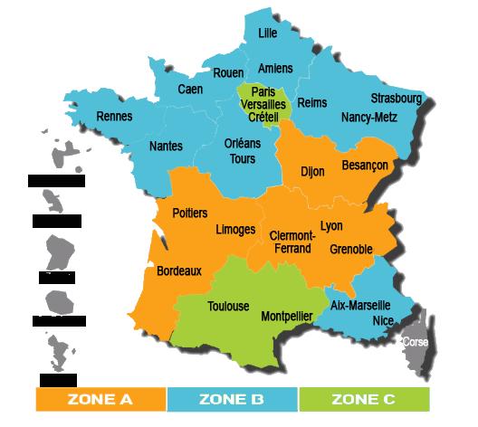 Carte de France des vacances scolaires et Zones Education Nationale