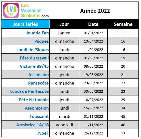 Jours Fériés 2022 – Les Vacances Scolaires Zone A Zone B Zone C